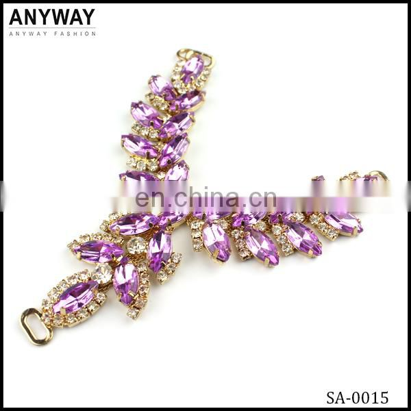 Wholesale shoe chains jeweled and pink rhinestones shoe accessory
