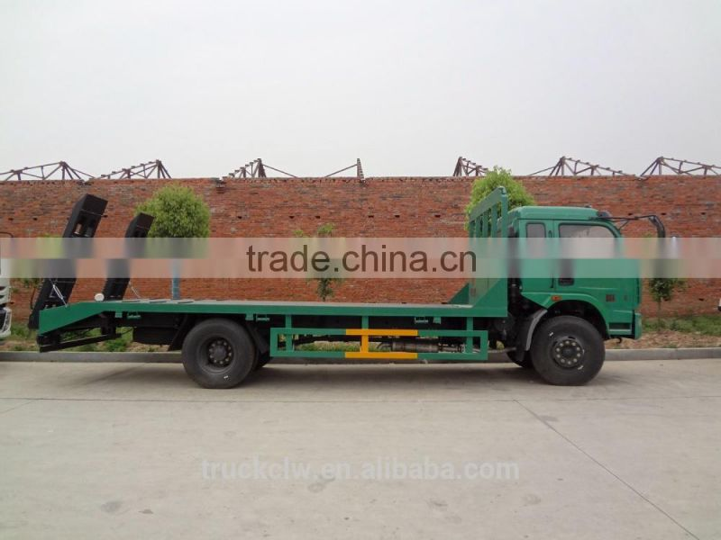 High quality 4x2 low bed trucks flat bed car for transport heavy duty machine or 20ft container for sale