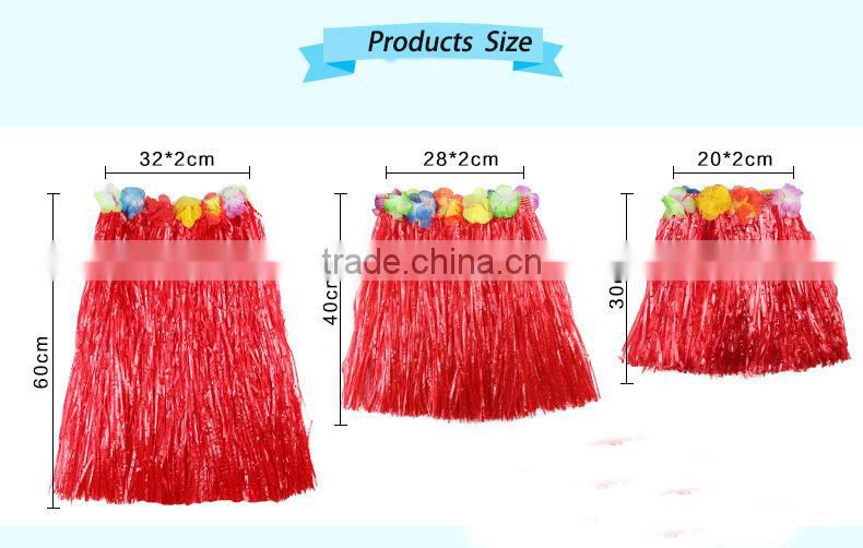 Yiwu Factory direct sale 40cm hawaii hula dance skirt,customized dress Hawaii(AM-HWD04)
