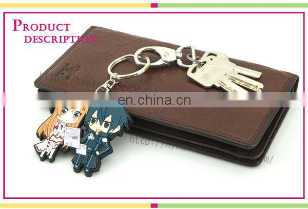 Cute soft PVC cartoon boy girl matching couple keychain