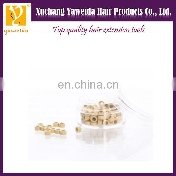 Black, brown, beige color Top quality human hair extension bead links silicone lined micro beads