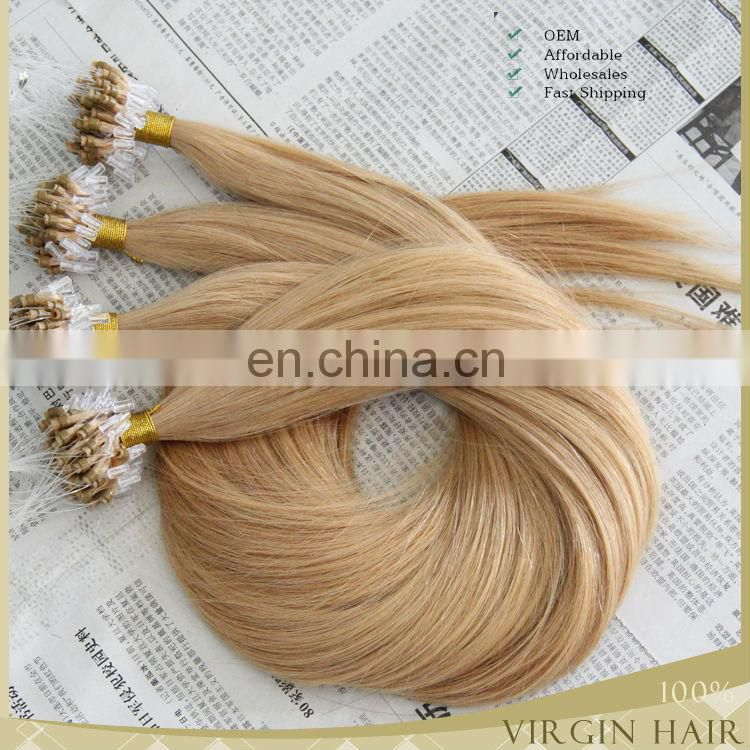 Grade 7A cheap 100% Brazilian human hair ombre micro loop ring hair extension