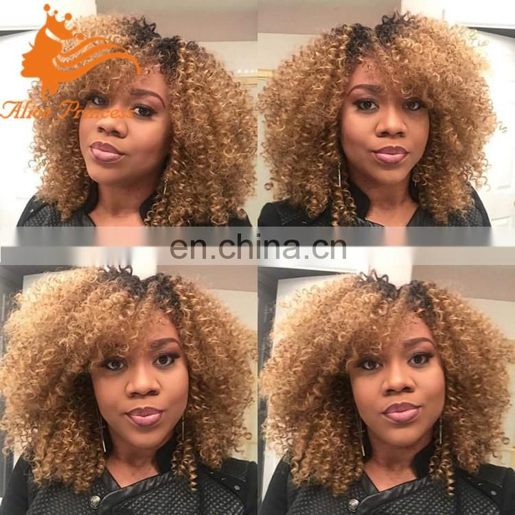 Afro Kinky Curly Brazilian Human Hair Wig Unprocessed Virgin Remy Hair Two Tone Full Lace Wig With Baby Hair