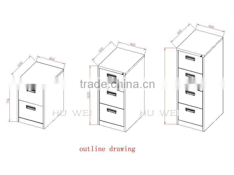 2014 China 2-4 drawer vertical HWZ-01B,HWZ-02B,HWZ-03B filing cabinets with different handle