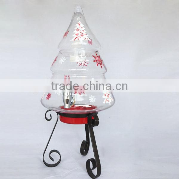 Holy christmas wholesale glass water and beverage dispenser with water faucet