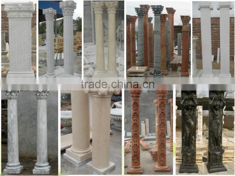new design sunset red marble roman style column for gate decoration NTMF-C227S