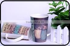 12oz ceramic cup personalized insulated ceramic mug with lid for kids