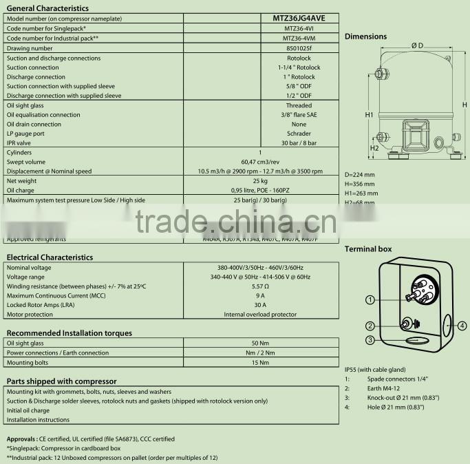 MT/MTZ Series maneurop piston compressor for air conditioning