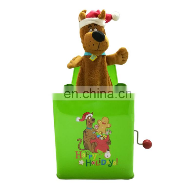 hot sales 2017 custom jack in the box plush toy bear Christmas Sing song gift JR-0009 music box Umay