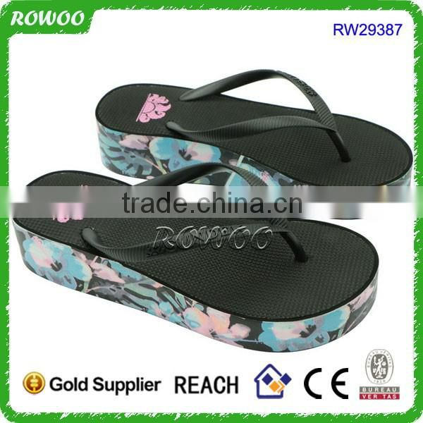 Flower Print Fantastic Wrapped Beach Wedge Sandals