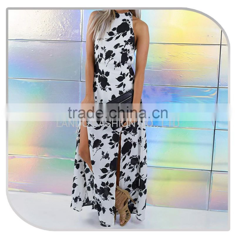 High neck designs for beautiful ladies suit back open split front chiffon maxi dresses for women 2016