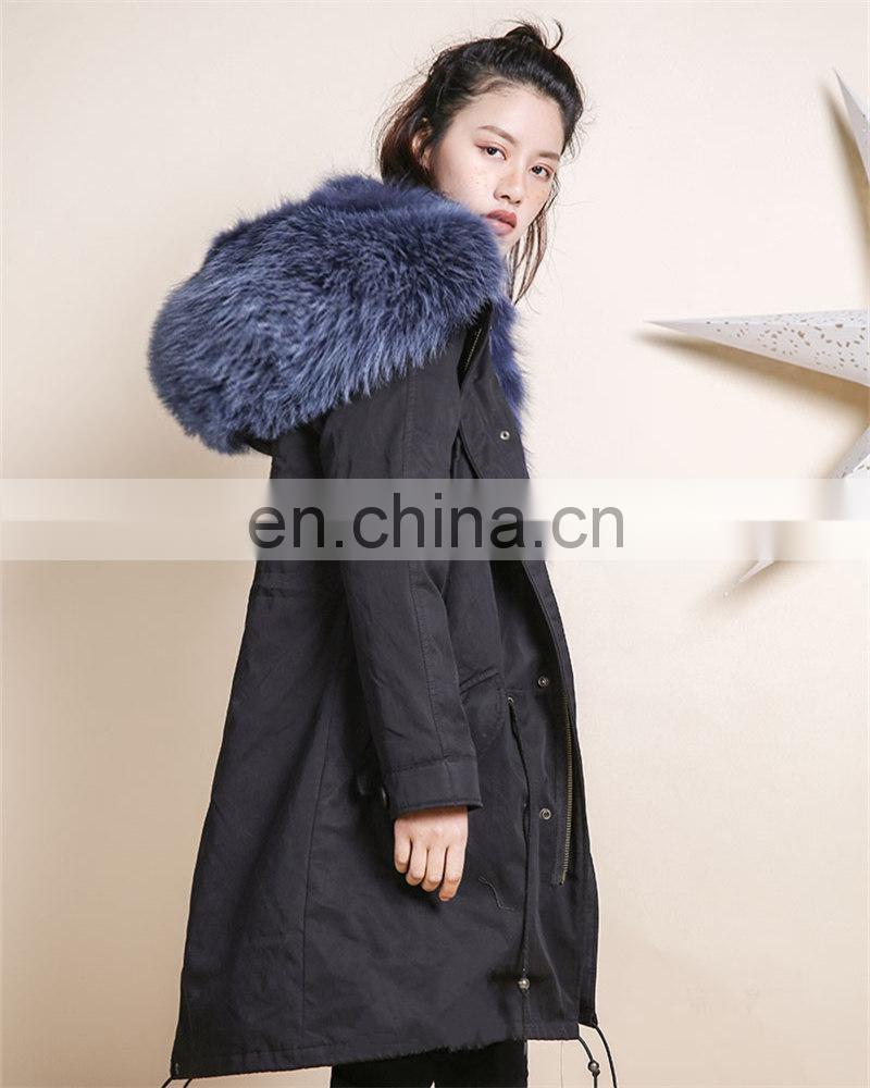 896100cda0 ... Wholesale Factory Price Long Fox Fur Lined Parka Raccoon Fur Collar  Ladies Winter Coats ...