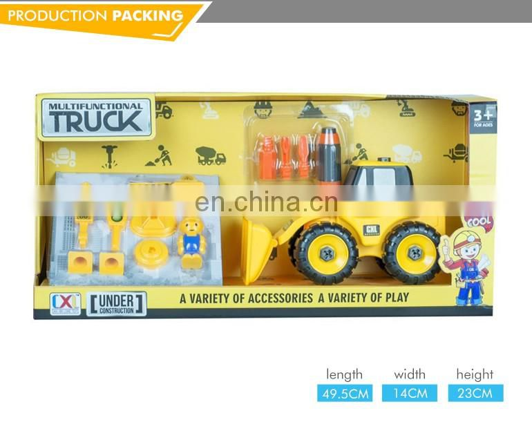 New intelligence plastic cartoon construction mini truck for kids