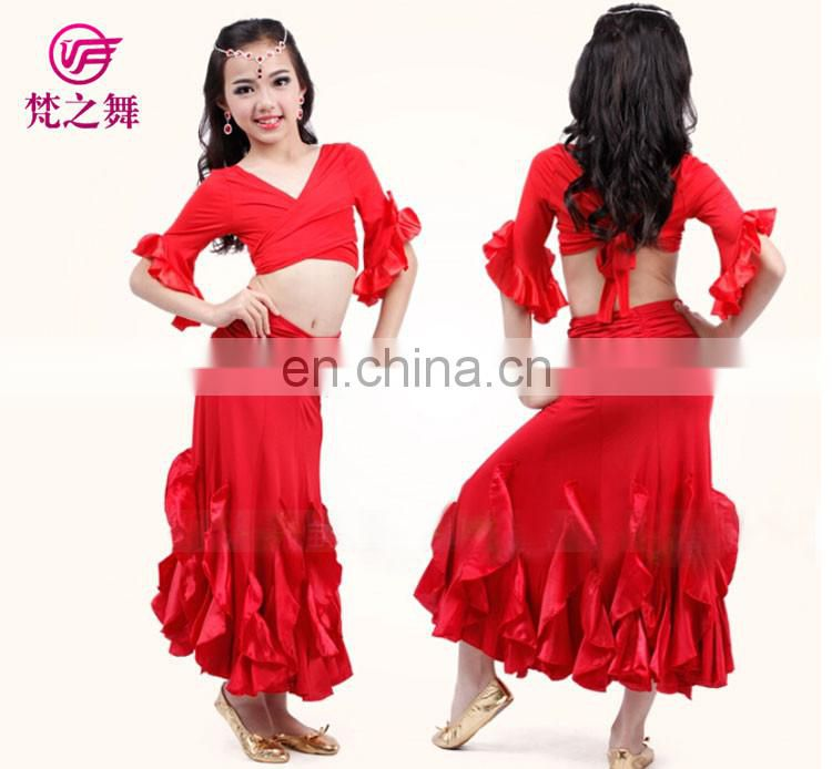 ET-131 Newest design Egyptian sexy children performance belly dance costume bra top and long skirt set