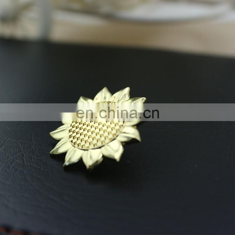 golden sunflower metal badge custom