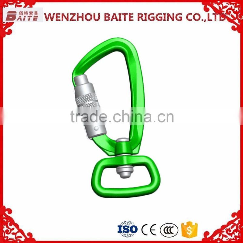 Outdoor Carabiner With Snap Hook With O Ring ,Golden Aluminum Snap Hook,Breakign load 500kg For Luggage Bag Image