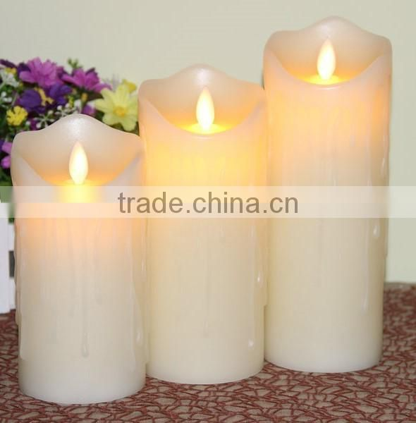 3pcs dripping flameless moving wick real wax pillar led candles with timer remote control led candles