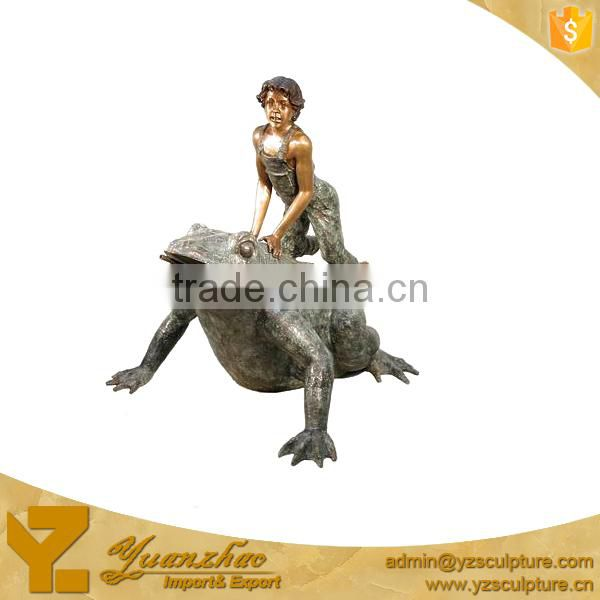 Bronze Boy riding Frog Water Fountain GBF-C034V