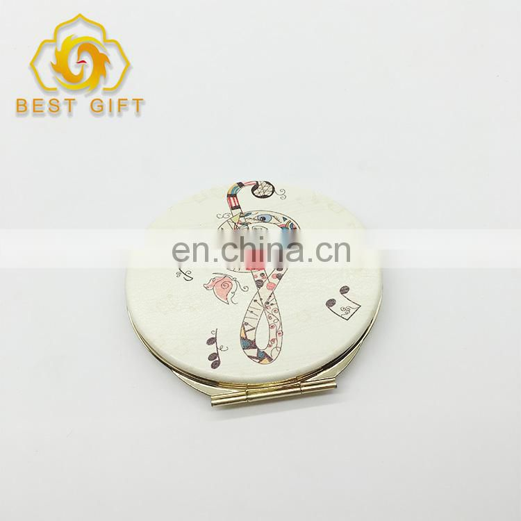 Gold Musical Note Round Shape Compact Leather Mirror