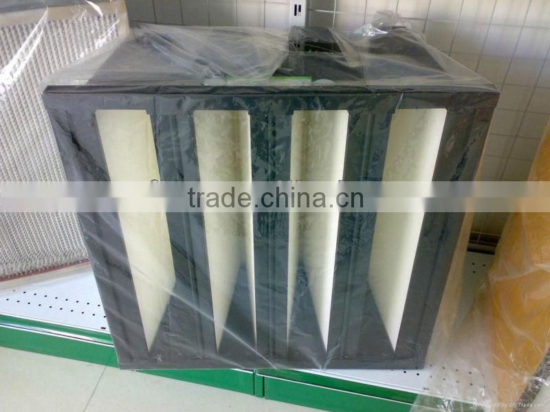 High efficiency pleated HEPA media for V-cell air filters