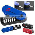 7 in 1 alumimum pocket screwdriver with click-on LED light torch and multi tools