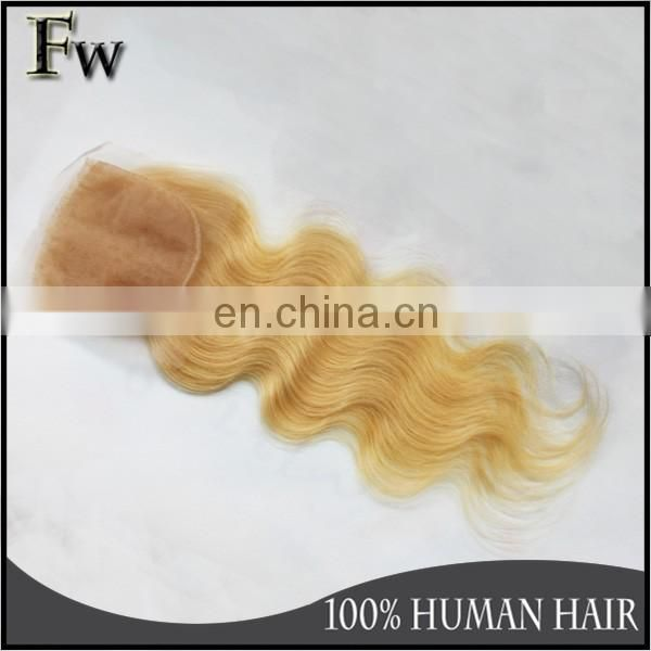 Blonde hair bundles with lace closure blonde human hair weave mongolian human body wave hair
