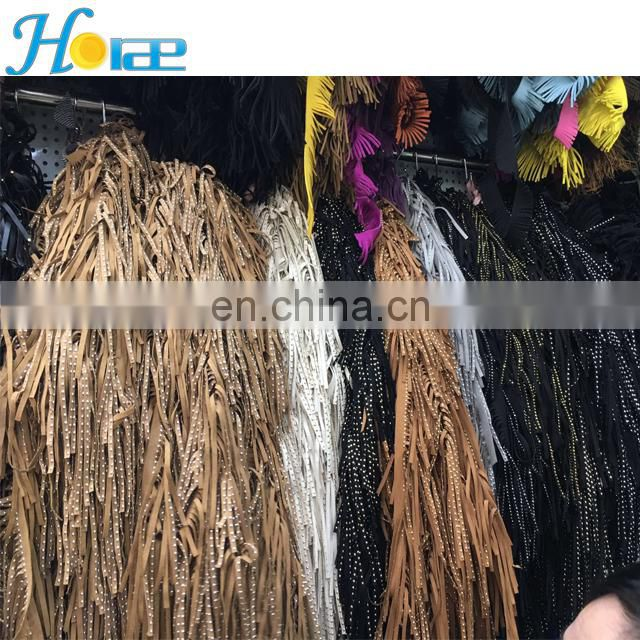 Wholesale 15cm width leather tassel trim suede fringe trim for shoe bag and garment