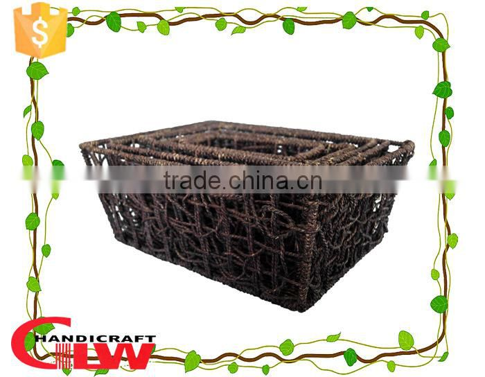 Set of 5 seagrass material twist rope antique design storage basket for house decoration,decorative storage basket