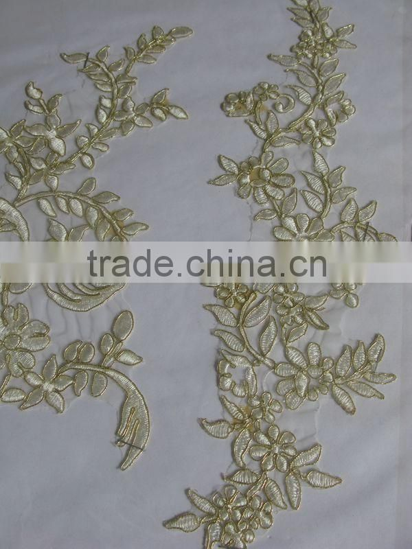 Wholesale Embroidered Gold Flower Lace/fine flower metallic lace gold lace applique for wholesale/Beautiful Fancy embroidery d