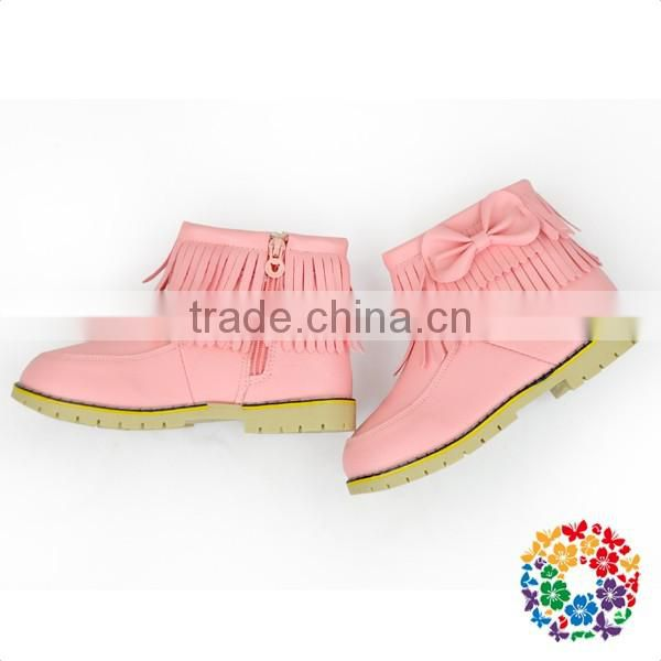 Children Boy And Girls Waterproof Three Colors Adding Cashmere Black Leather Shoes