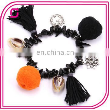 2017 Fashionable bracelet, hot selling black beads bracelet, Pompom bracelets