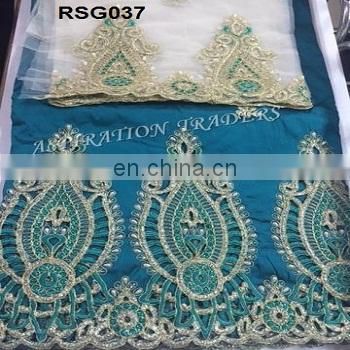New arrived African Nigeria style raw silk george lace,Embroidery Sequins Indian wine George For Wedding