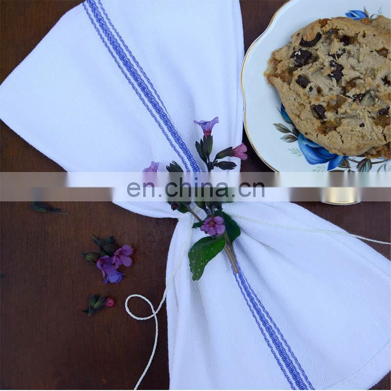 kitchen-restaurant-hotel dish-cloth blue tea towels-12 pack, white with blue side stripe,100% cotton with herringbone weave