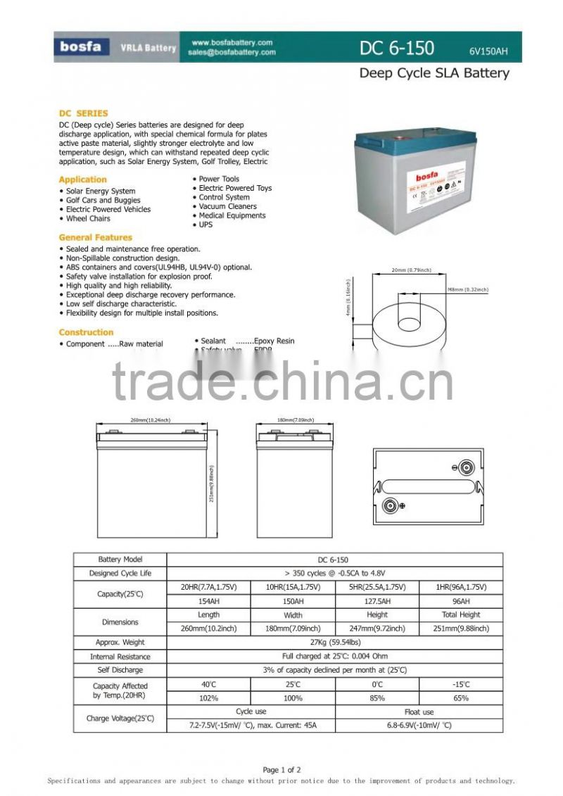computer ups batteries 6v150ah lead acid battery for alarm system solar photovoltaic battery