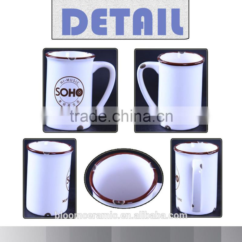 Handmade white ceramic beer mug for tableware