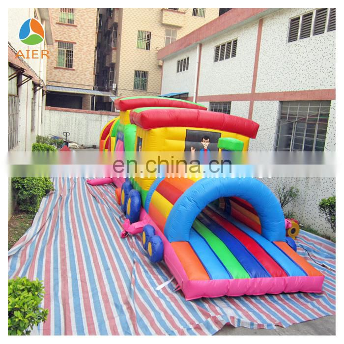 Aier inflatable train obstacle course for kids