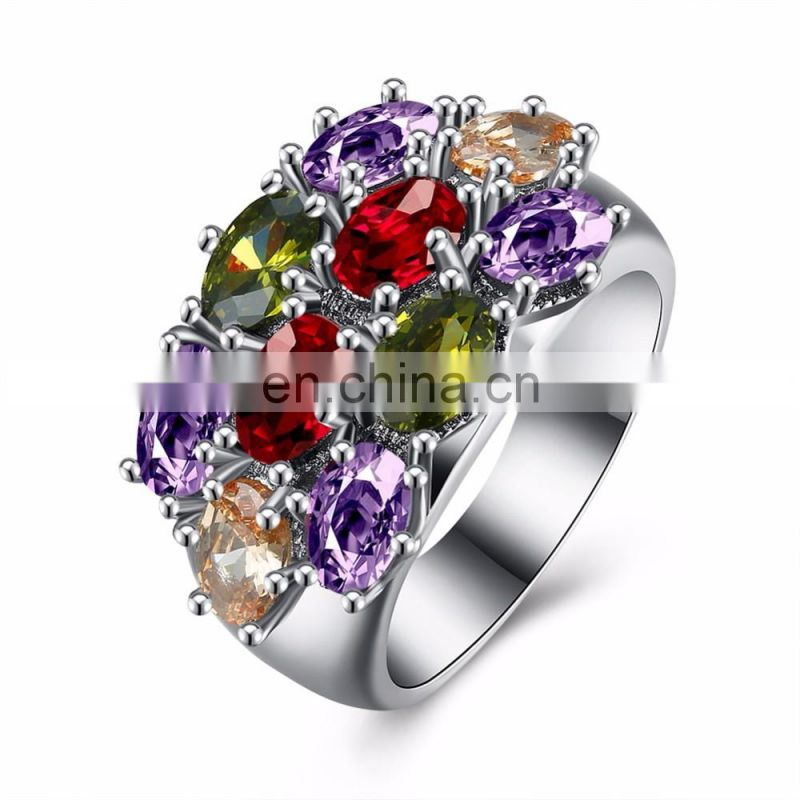 Fashion jewelry white gold ring colorful moissanite diamond ring