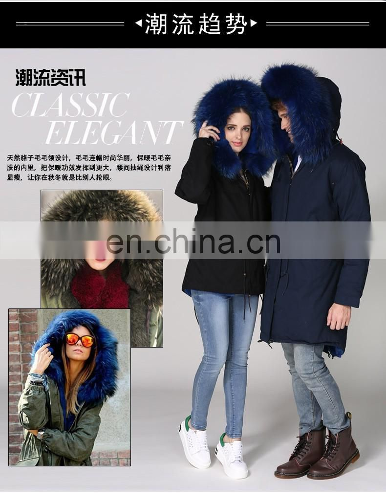 New arrival 2016 winter warm hot selling raccoon hair hooded turkey fur coat