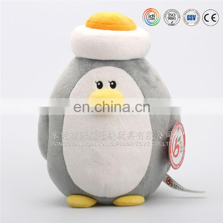 Custom stuffed animal round pillow plush cushion penguin