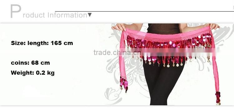 Hot Belly Dancing Clothing Training Chiffon Fabric Adjustable Fit Gold Coins Wrap Hip Belt for Belly Dance Waist Chain