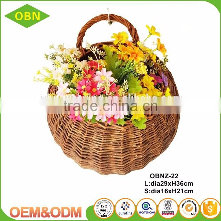 Custom fashion new natural handmade wicker hanging flower basket wholesale decorated your garden