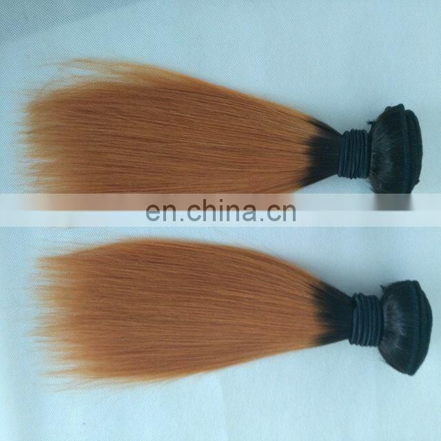 12 inch stock two tone color hair weft cheap ombre hair extension