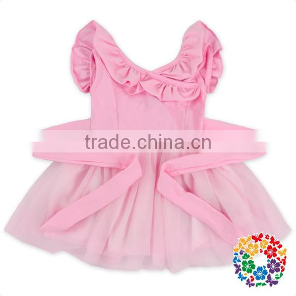 Little Girls Cotton Summer Tutu Dresses Solid Pink Color Baby Girl Party Smock Dress With Sash Boutique Girls Frock Dresses