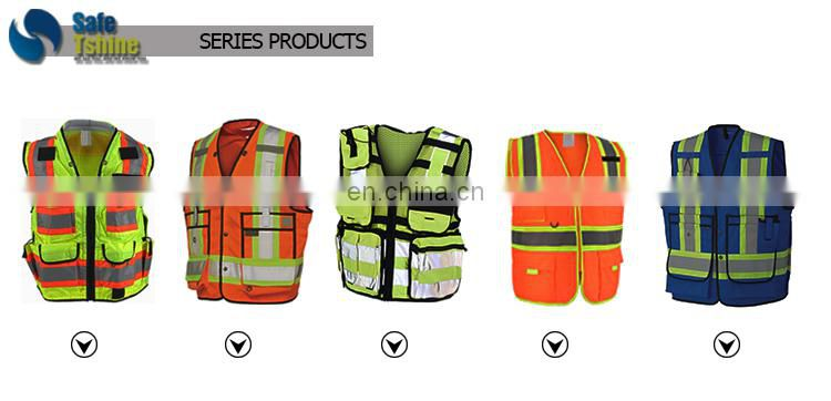Safety protection orange emergency safety vest with zipper en471