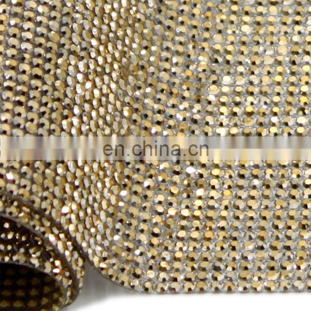 hat464 hotselling hotfix rhinestone mesh gold color crystal rhinestone sheets for shoes,bags,garment etc