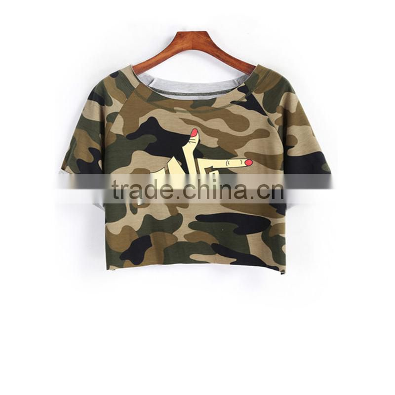 wholesale ladies t-shirt Army green short t-shirt for ladies