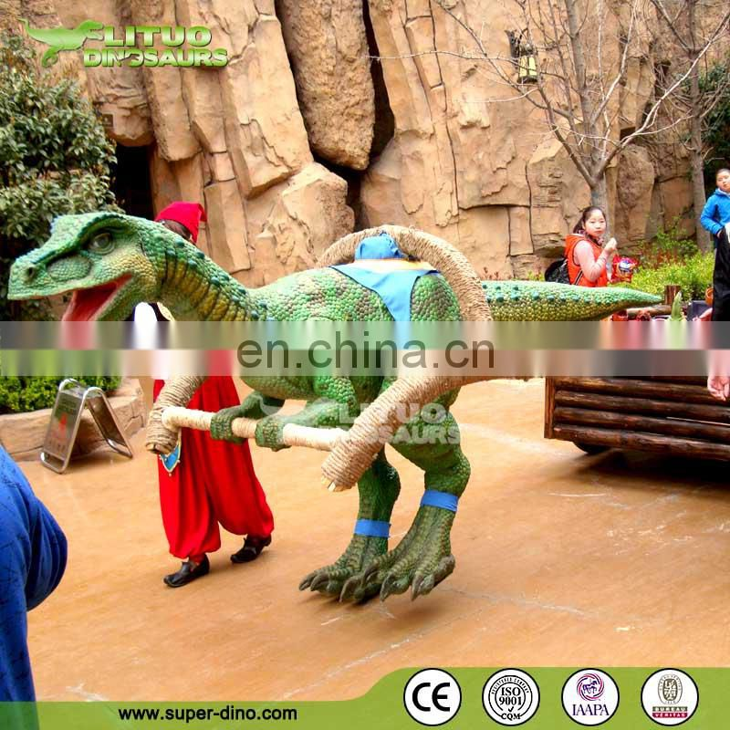 Walking Dinosaur with Cart in Amusement Park