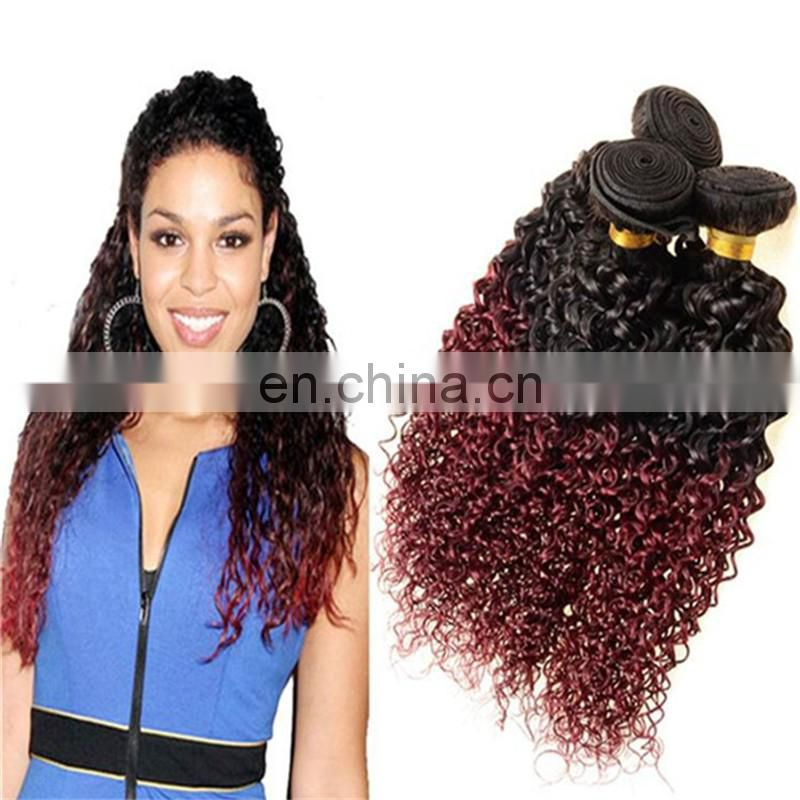 2016 factory wholesale remy human hair extensions ombre two tone color kinky curly remy brazilian human hair weaving