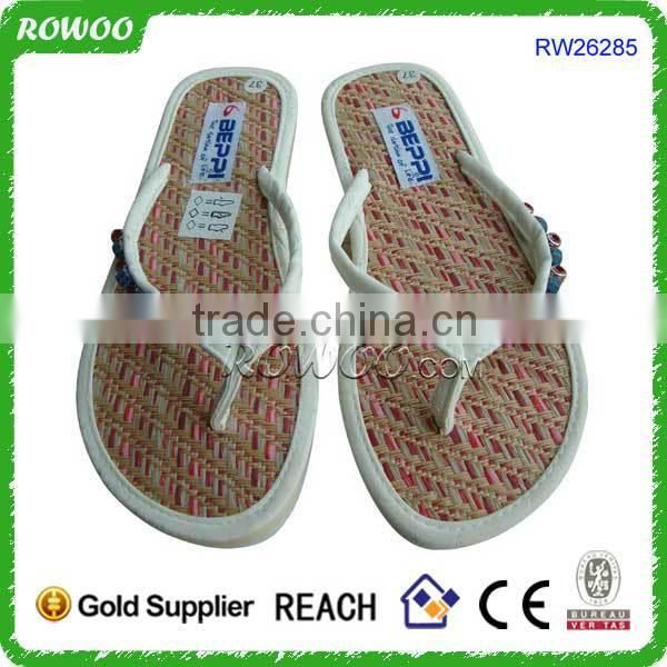 Hot new fashion nice women nude beach slippers with staw sole