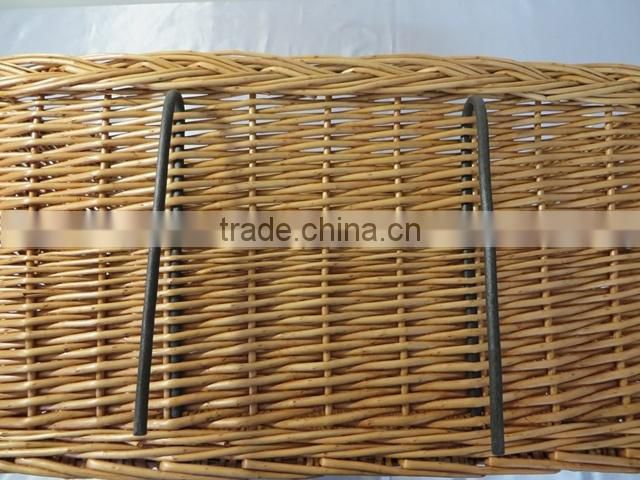 Hot sell large removable willow rattan bicycle baskets wholesale